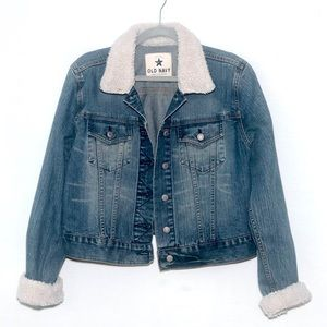 Old Navy fleece detailed trucker jean jacket
